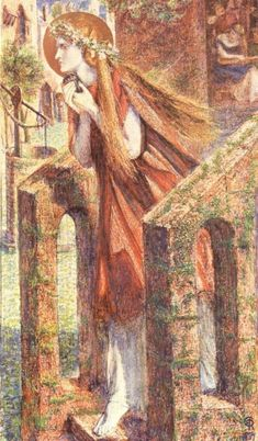Mary Magdalen, 1857, Dante Gabriel Rossetti Size: 19.69x34.29 cm Medium: paper