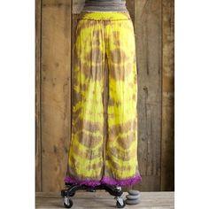 Bright Yellow Tie-Dye Fringe Lounge Pants