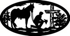 Image detail for -cowboy at the cross a cutout of a cowboy kneeling