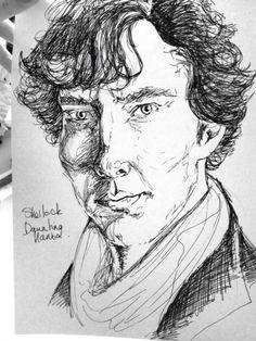 A 30 min scribble of Sherlock. A4