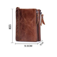 Portafoglio uomo vera pelle di vacchetta con carta di credito titolare  Bifold Portamonete a doppia tasca 6c4baa676e8
