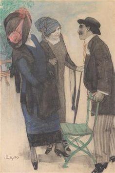 Leo Gestel - Conversation on the boulevard; Creation Date: 1910; Medium: pastel, charcoal on paper