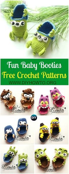 Fun Crochet Baby Booties Free Patterns By Kamila Krawka: Crochet Monster, Pirates, Alien, Shrek Baby Booties Newborn shoes