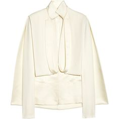 Esteban Cortazar Cape-back duchesse-satin and cady jacket (11 155 UAH) ❤ liked on Polyvore featuring outerwear, jackets, tops, coats, ivory, stand collar jacket, drape jacket, reversible jacket, white jacket and cape coat