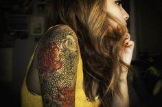 inspiration #koi #japanese #flowers #lotus #ink #tattoo #Tattoo #Koi #Sleeve #tattoos #inkt #japanese tattoo #koisleeve #black&white #tattoo