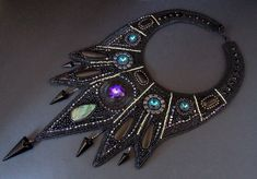Free Shipping, Bead Embroidery, Collar Necklace, Statement necklace, Seed beaded jewelry, Swarovski, Black, Labradorite ,Black jasper by vicus. Explore more products on http://vicus.etsy.com