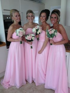 Bridesmaids and Bouquets. Wedding. Bridesmaids Dresses, Pink Dresses.
