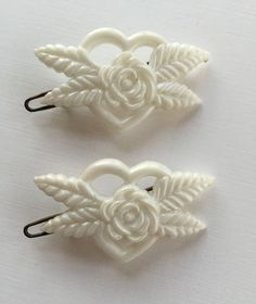 Diamond Shape Barrettes Pair of White Painted Duck Vintage Hair Barrettes