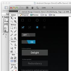Android design stencils for Fireworks and OmniGraffle
