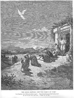 Gustave Doré — The Angel Raphael and the Family of Tobit, Gustave. New Jerusalem, Don Quixote, New Art, Illustrators, Angel, Painters, Water, Gustave Dore, Gripe Water