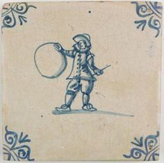 Antique Dutch Delft tile in blue with a child playing with a hoop, first half 17th century