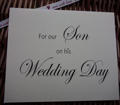 For Our Son On His Wedding Day Card By WendysWeddingCorner