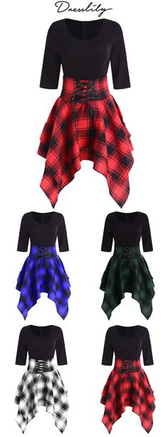 Lace Up Plaid Asymmetrical Dress. Source by dresses party Cute Teen Outfits, Hot Outfits, Edgy Outfits, Outfits For Teens, Girl Outfits, Cute Prom Dresses, Emo Dresses, Pretty Dresses, Beautiful Dresses