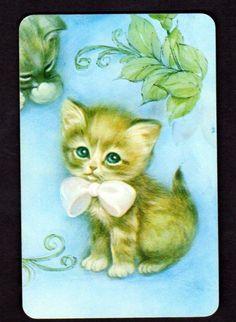 Vintage Swap Card - Gorgeous Kitten in Bow (BLANK BACK)