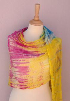 Silk scarf-Yellow Multicolor-Beaded edge- All season -Loop Scarf- Huge scarf-Luxury-authentic