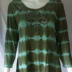 Pretty Beaded Top Very pretty shirt by Sundance.  Olive green and pale blue with beautiful beadwork and 3/4 sleeves.  Excellent condition.  Size S.  Rayon and Spandex.  Hand Wash Cold. Sundance Tops Tees - Long Sleeve