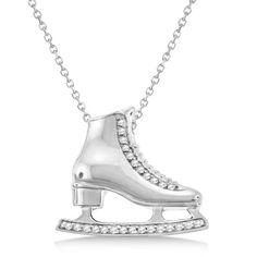 Diamond Accented Ice Skate Pendant Necklace 14k White Gold 0.26ct - Allurez.com
