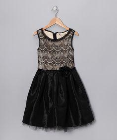 Gold & Black Rosette Dress