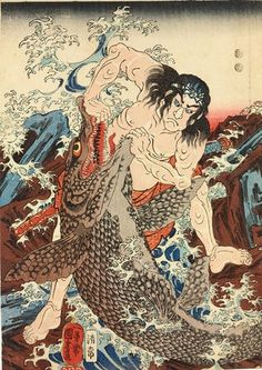 Kuniyoshi: Asahina Saburo Yoshihide wrestles with two crocodiles ., by Kuniyoshi Japanese Drawings, Japanese Artwork, Japanese Tattoo Art, Japanese Painting, Japanese Prints, Japan Design, Flor Oriental Tattoo, Japanese Woodcut, Japanese Mythology