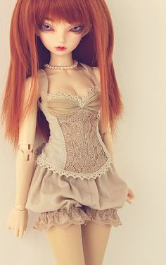 "Outfit ""Tan version"" by Plume Blanche Créations, via Flickr #dolls"