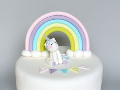 Unicorn, Rainbow and Block Letters Fondant Cake Topper, Fondant Baby Shower Unicorn, Unicorn Edible Birthday Cake Topper