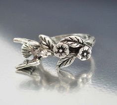 Bird Flower Silver Ring Size 7.5 Victorian Revival Figural Ring #VIntage #Jewelry