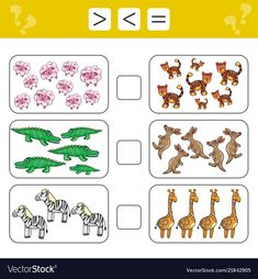 Learning mathematics, numbers - choose more, less or equal. Tasks for addition for preschool children, worksheet for kids. Kindergarten Math Worksheets, Preschool Learning Activities, Kindergarten Writing, Worksheets For Kids, Math Talk, Montessori Math, More And Less, Learning Numbers, Early Education