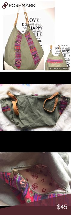 """Lucky Brand Large Canvas Bag Great condition! Super cute colors. There's no signs of wear to it.  Handles can be adjusted. It has a back pocket. Side pocket with zipper and inside pocket. 100% Cotton. 15""""H. Laid flat not buttoned is 29"""" W and with buttoned is 15"""" W. Color in cover photo is how it looks in the sunlight. Lucky Brand Bags Shoulder Bags"""