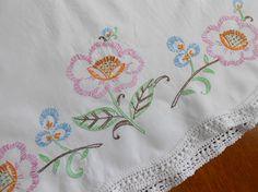 Vintage Pillowcase Pink Blue Flower Hand by VintageBabyByKay