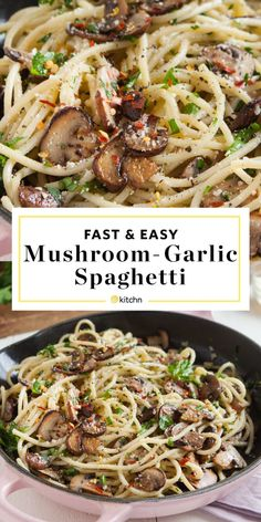 Easy Mushroom and Garlic Spaghetti. Looking for easy recipes and ideas for weeknight dinners and meals? This hearty, healthy, vegetarian pasta dish is perfect if you're looking for meatless monday rec Vegetarian Pasta Dishes, Healthy Pasta Recipes, Pasta Salad Recipes, Vegetarian Recipes, Cooking Recipes, Easy Recipes, Cooking Tools, Vegetarian Kids, Cooking Kale
