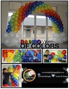 Rainbow Balloon Arch - Sweet-Art Designs Maui Unicorn Party, Unicorn Birthday, Anniversaire My Little Pony, Rainbow Balloon Arch, My Little Pony Party, Rainbow Parties, Rainbow Birthday, Rainbow Theme, Balloon Columns