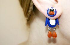 blue penguin earrings penguin dangling von JEWELRYandPLEASURE