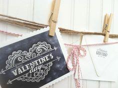 Printable DIY Happy Valentines Day Chalk Valentines Day Card. $12.00, via Etsy.