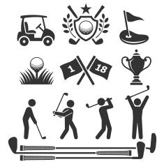 Golfing icons and stick figures vector art illustration