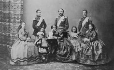 Danish Royal Family - Maria Feodorovna, Empress consort of Russia, Frederick VIII of Denmark, Prince Valdemar, Queen Louise, Christian IX, Thyra, Crown Princess of Hanover, George I of Greece, Alexandra, Queen consort of the United Kingdom and Empress consort of India - Carte de Visite von Georg Emil Hansen, 1862