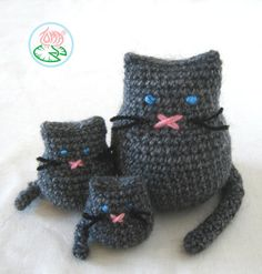 Amigurumi Cat Family (3 versions) - PDF pattern (Digital Download)
