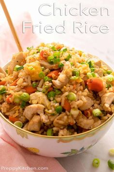 How to make your favorite Chinese-restaurant style Chicken Fried Rice at home! This fried rice from Preppy Kitchen is not only much healthier than take-out but it tastes so much better. Packed with delicious vegetables, juicy chicken, and crispy egg fried rice. #chickenfriedrice #bestchickenfriedrice #friedrice Mexican Food Recipes, Healthy Recipes, Rice Recipes, Healthy Food, Dessert Recipes, Best Dinner Recipes, Fall Recipes, Spiced Rice, Rice Dishes