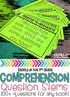 These resource cards contain over 100 comprehension questions to be used with any book. Use this resource as a tool for whole group reading, guided reading, or partner discussions.