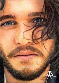 Original portrait of Kit Harington Jon Snow Game of Thrones by Antoinette Sajaf