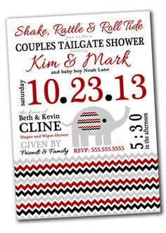 ROLL TIDE Alabama Baby Shower Invitation  Chevron by khudd on Etsy, $10.00