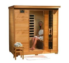 HeatWave Monticello SA2418 - 4 Person Hemlock Infrared Sauna with 9 Carbon Heaters. Natural Hemlock wood. Its dual interior and exterior LED control panels allow for easy temperature control ~ http://walkinshowers.org/best-infrared-sauna-reviews.html