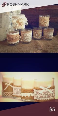 Vintage Candles wrapped in Burlap w/ Lace Candles come in assorted sized. Small, medium and large. UniiqueCreations Other