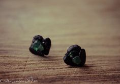 #Raw #Black #Tourmaline and #dark #aventurine Sterling silver studs  All tourmalines are said to enhance understanding, increase self-confidence and amplify psychic energies. Th... #trending #crystals #beobot #earrings #rt #jewelry #stud #black #tourmaline #raw #green