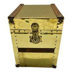 Vintage Sarreid Brass Studded Trunk Side Table