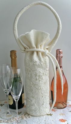 White Felted Champagne Wine Tote,Wool Felt Wine Bag,Beaded Applique Felt Wine Gift Bag,Wedding Champagne Toast Bag by…