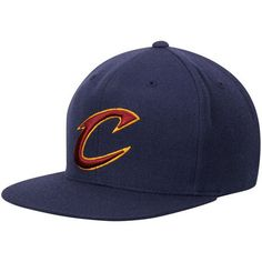 Men s Mitchell   Ness Navy Cleveland Cavaliers Wool Solid 2 Adjustable Snapback  Hat 243feb8992e