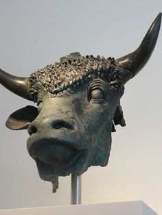 Bronze head of a sacred bull Roman 1st century CE from Octodurus in modern Switzerland founded by the emperor Claudius |