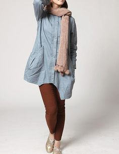 Linen Irregular single breasted long shirt by MaLieb on Etsy, via Etsy.