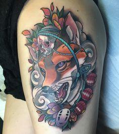 My kitsune tattoo with some #miyazaki #spiritedaway #noface #studioghiblitattoo