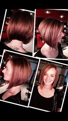 Short hair, stacked bob, align bob, hair color, haircut